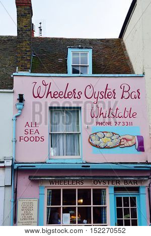 Whitstable United Kingdom -October 1 2016: Traditional oyster restaurant in Whitstable High Street