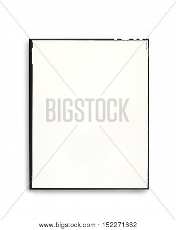 Photographic film plate isolated with light shadow. Clipping path on plate and frame