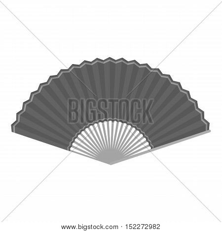 Folding fan icon in monochrome style isolated on white background. Theater symbol vector illustration