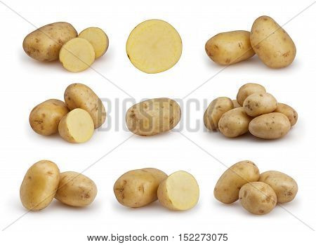 Set of potatoes isolated on white background