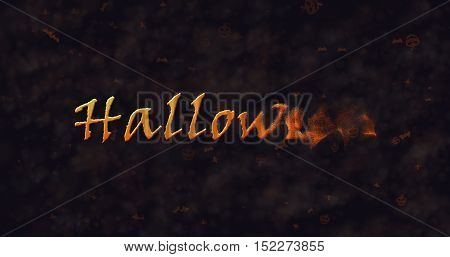 Halloween text dissolving into dust to right