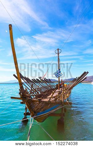 Argo legendary ship copy in port Volos, Greece. Greek mythology Argonauts sailed Argo to retrieve the Golden Fleece