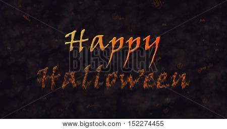 Happy Halloween text dissolving into dust to bottom