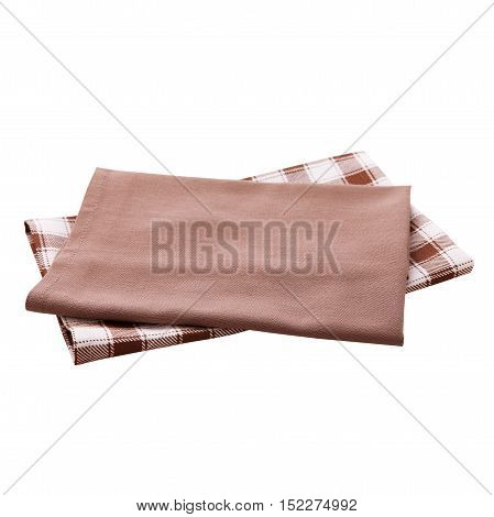 Napkin. Stack of colorful dish towels isolated on white