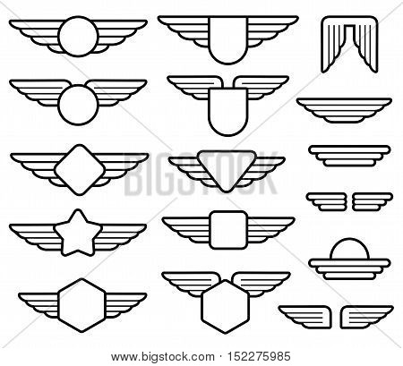 Wing army emblems, aviation badges, pilot labels line vector set. Shield with wings insignia illustration poster