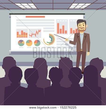Public business training, conference, workshop presentation vector concept. Business seminar with teacher success businessman illustration