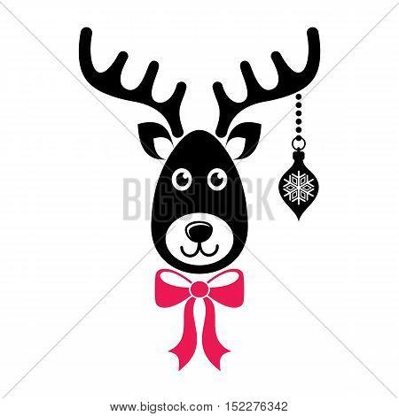 Cute black vector cartoon reindeer face christmas icon