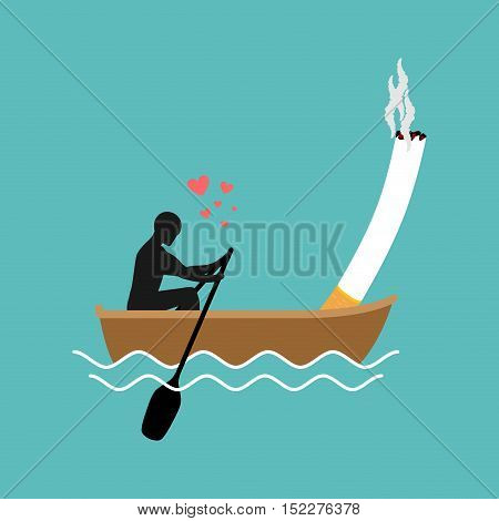 Lover Smoke. Man And Cigarette Boating. Smoker Walk Along Lake. Nicotine Lovers And Boat. Romantic I