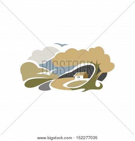 Isolated abstract colorful rural landscape with fields and hills logo. Watercolor countryside house logotype. Village icon. Natural scenery sign. Harvest time rural vector illustration