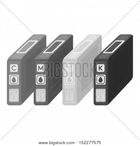 Ink cartridges in monochrome style isolated on white background. Typography symbol vector illustration.