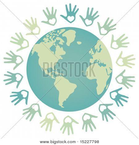 Kleurrijke wereld vrede en eenheid vector.