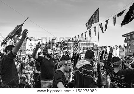 Istanbul Turkey - October 11 2016: Muslims worldwide marks Ashura Istanbul Shiite community. Caferis take part in a mourning procession marking the day of Ashura in Istanbul's Halkali region Turkey on October 11 2016.