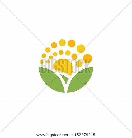 Isolated cartoon nature landscape with meadow logo. Summer sunset, sunrise. Round shape natural environment logotype. Green color leaves and bright flower petals icon