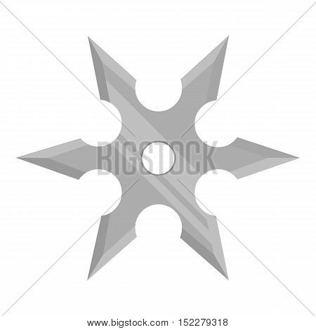 Metal shuriken icon monochrome. Single weapon icon from the big ammunition, arms monochrome.