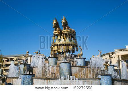 Kolkhida Fountain on the central square of Kutaisi, Georgia, Europe.