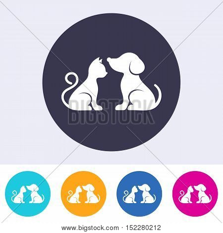 Vector dog and cat on round colorful buttons