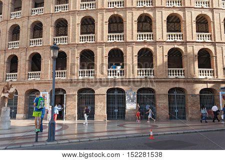VALENCIA, SPAIN-OCTOBER 08, 2016: Exterior of the Plaza de Toros, bullring, Valencia, Spain