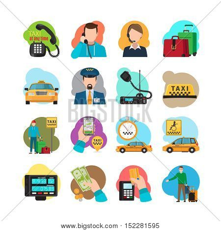 Taxi cartoon icons. Taxi passenger and driver, taxi orange sedan and yellow cab vector illustration