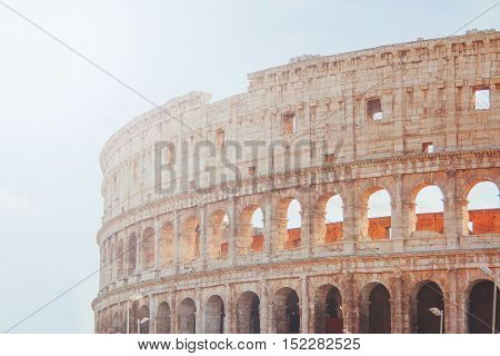 Exterior of the Flavian Amphitheatre Colosseum, in Rome, Italy, retro filter applied