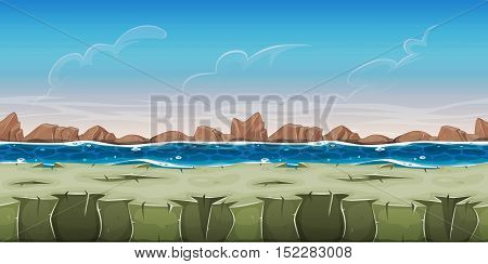 Illustration of a cartoon seamless ocean landscape background with rocky ground water and little mountains for game ui scenics