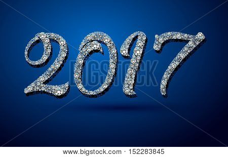 2017 Happy New Year background. Diamond background. Ideal for xmas card or elegant holiday party invitation.