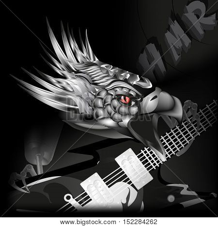 vector illustration iron eagle with a guitar in its claws