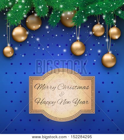 Christmas card with gold glass balls, snowflakes, fur branches at blue background with dots and stars and sign in grunge style, Vector illustration, template for greeting card.