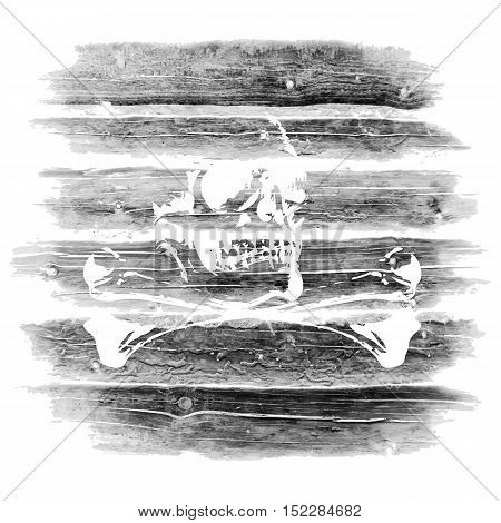 Stock Vector Jolly Roger skull and bones on a background of a wall from logs timber made in grunge style