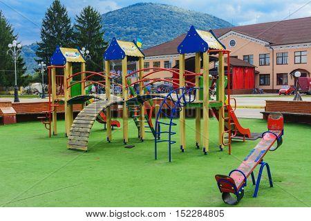 Children's playground in the center of the city in western Ukraine