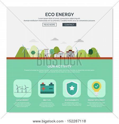 One page web design template of city environmentally friendly green energy, sun power development with solar panels. Flat design graphic hero image concept website elements layout.