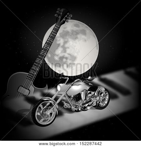 Stock vector - musical background with the moon guitar and motorcycle on a piano