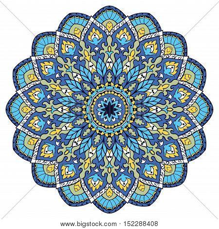 Blue vector mandala. Template for carpet shawl textile fabric wallpaper. Oriental ornament. Ec for design.