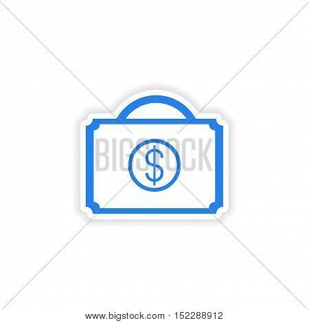 icon sticker realistic design on paper case money