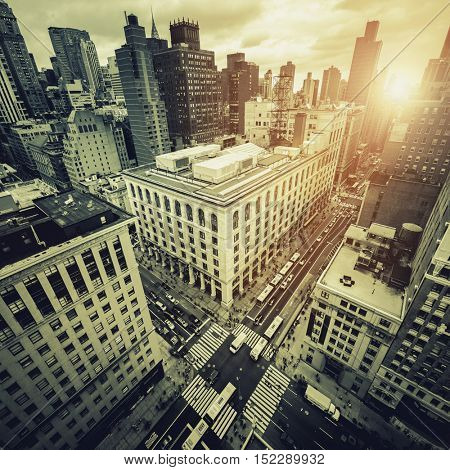 Aerial view in high contrast black and white of New York City, looking down on 5th Avenue poster