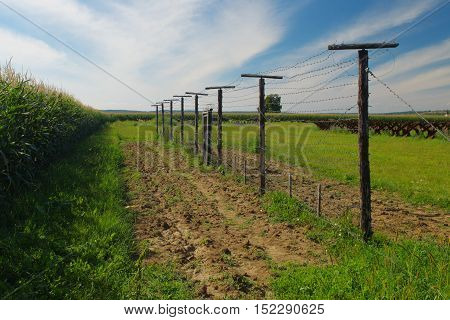 Fence Iron Curtain Satov in Czech republic