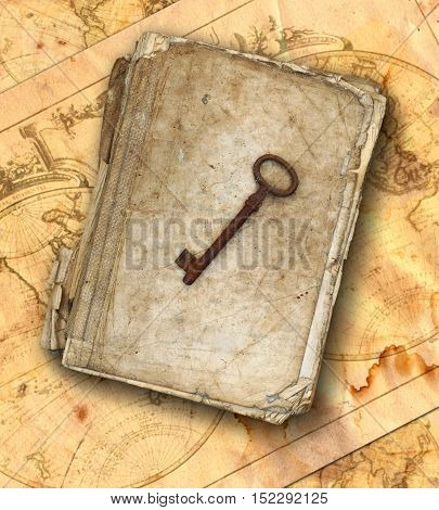 Worn and tattered book and old rusty key on the old maps