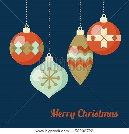 Retro Christmas greeting card invitation. Hanging Christmas balls baubles ornaments. Flat design. Vector illustration background .