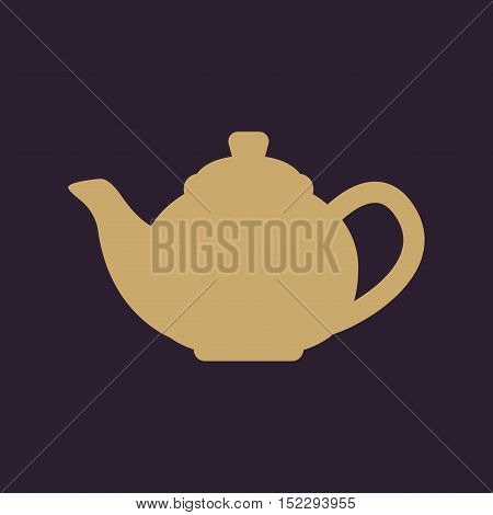 The teapot icon. Tea symbol. Flat Vector illustratio