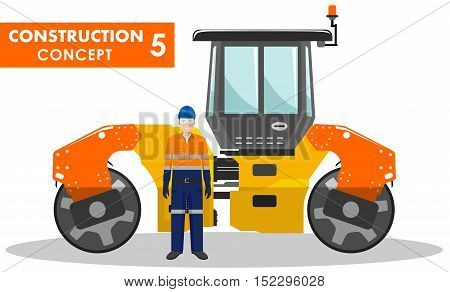 Detailed illustration of compactor and worker in flat style on white background.