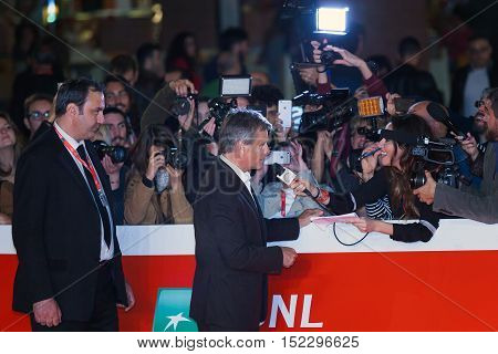 Rome Italy - October 17 2016: Viggo Mortensen releases interview with reporters on the red carpet for 'Captain Fantastic' during the 11th Festival of Rome at the Auditorium Parco della Musica.
