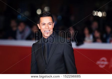 Rome Italy - October 17 2016: Livio Beshir walks a red carpet for 'Captain Fantastic' during the 11th Rome Film Festival at Auditorium Parco Della Musica.