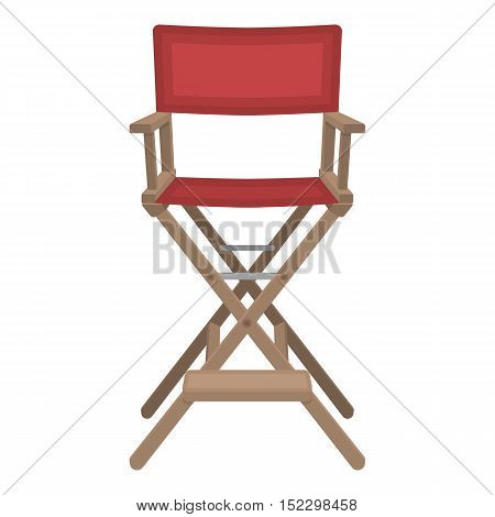 Director's chair icon in cartoon style isolated on white background. Films and cinema symbol vector illustration.