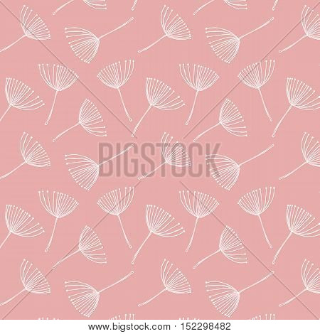 Abstract vector seamless pattern with stylized floral elements similar to dill or fennel.White on pink background repeat.