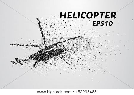 The helicopter of the particles. The helicopter takes off. The helicopter consists of small circles.