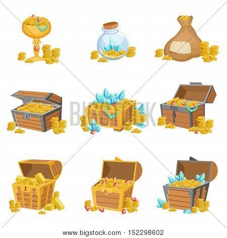 Treasure And Riches Set Of Graphic Design Elements. Cute Cartoon Style Illustrations With Gold, Jewels And Gems Isolated On White Background.