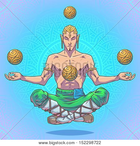 Yoga man in a lotus position. Vector illustration made in cartoon style.