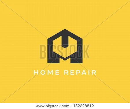 House repair service tool shop sign logotype. Creative idea wrench home icon creative mechanic symbol logo icon. Negative space symbol.