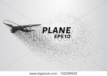 The plane of the particles. The plane disintegrated into small molecules. The plane takes off.