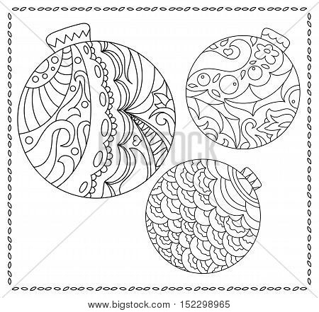 Christmas fir tree ornament coloring page. Adult or teen coloring page with Christmas or New Year doodle illustration. Vector coloring page for winter holidays. Christmas ornament balls for coloring