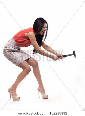 Business Sexy Girl With A Hammer In His Hand.